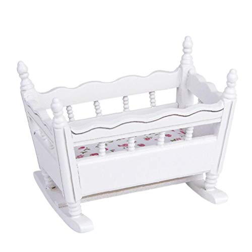 White Wooden 1:12 Miniature Baby Cradle Doll Crib Bed Dollhouse Decoration Practical & Utilities