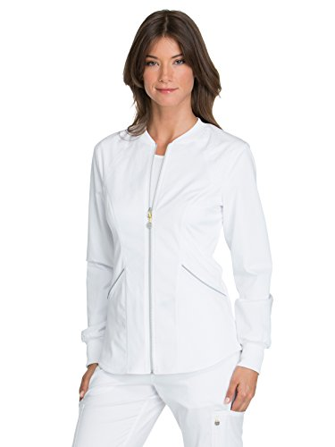 CHEROKEE Women's Luxe Sport Zip Front Warm-up Jacket, White, Medium