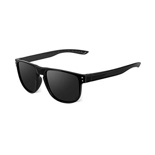 CHEREEKI Sunglasses, Polarized Sunglasses for Men Women Classic with UV400 Protection and Ultralight Frame (Black-Grey)