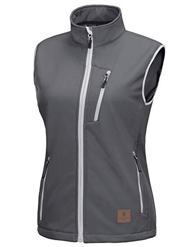 Little Donkey Andy Women's Lightweight Fleece lined Softshell Vest Windproof Sleeveless Jacket for Hiking Travel Golf Grey L
