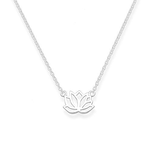 Selfmade Jewelry ® Lotus ketting 925 sterling zilver - zilveren ketting met lotus-hanger kettinglengte 43,5 cm incl. geschenkverpakking