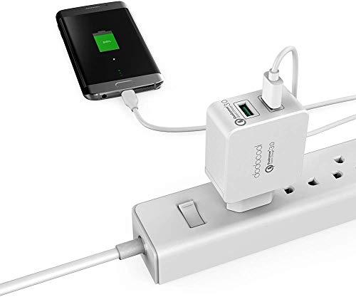 dodocool Quick Charge 3.0 Caricatore USB da Muro a 2 Porte, 36W 5V/5.4A Caricabatterie da Muro per iPhone, iPad, Samsung, LG, HTC, Huawei, Xiaomi, Nexus, Kindle e Tablet, Bianco (30W) (36W)