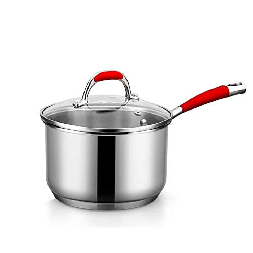 Pot Cooker universale con coperchio in vetro temperato e maniglie antiscivolo Padella, Cucinare Pentole Wok Red JIAMING