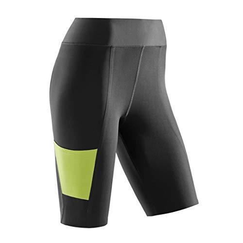 CEP - Training Shorts für Damen | Kurze Trainingshose mit echter Kompression in schwarz/grün | Größe S