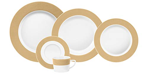 Serviço Jantar E Chá 20 Peças Porcelana Schmidt Diversos. Decoração Linha Matte Cappuccino Pacote De 020 No Voltagev