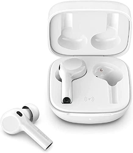 Belkin SOUNDFORM™ Freedom 完全ワイヤレスイヤホン Apple Find Myアプリ対応 最大36時間音楽再生 ワイヤレス充電 Bluetooth 5.2 防滴IPX5 通話ノイズリダクション ホワイト AUC002QEWH-A