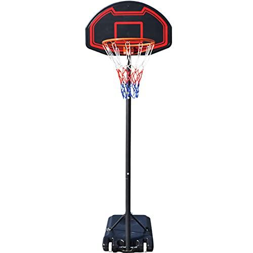 portátil Canasta Baloncesto, 1,5-2,1m Juego de Baloncesto con Soporte 2 Ruedas Soporte de Baloncesto Altura Ajustable para niños/jóvenes/Adolescentes,Black