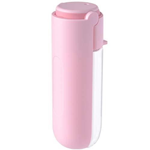 TJLSS Botella de Agua para Mascotas portátil, tazón de Consumo de tazón, Volante de Mascotas al Aire Libre, dispensador de Agua Rosa 420ml