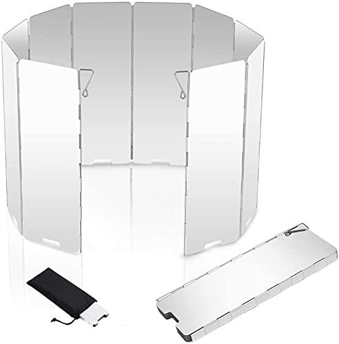 Windschutz Gaskocher Für Campingkocher Mit 10 Lamellen Aus Aluminium, Leichter Faltbarer Windschutz, Windschutzscheibe Windscreen (A)