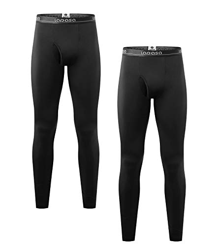 LAPASA Men's Lightweight Thermal Underwear Pants Fleece Lined Long Johns Leggings Base Layer Bottoms 2 Pack M10 (Medium, Black)