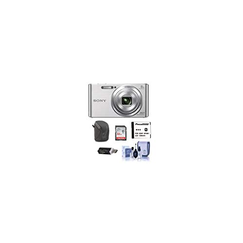 Sony Cyber-Shot DSC-W830 Digital Camera, 20.1MP, 8X Optical Zoom, Silver - Bundle with Camera Case, 32GB Class 10 SDHC Card, Spare Battery, Cleaning Kit. SD Card Reader