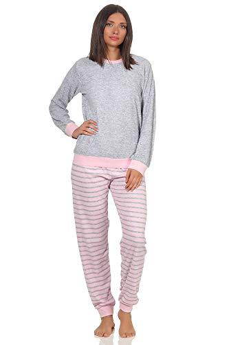 RELAX by Normann Damen Frottee Pyjama Langarm mit Bündchen und niedlicher Pinguin Stickerei - 291 13 779, Farbe:grau-Melange, Größe2:48/50