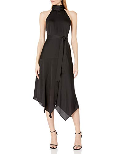 Vince Camuto Women's Mock Halter Neck Hammer Satin Belted Dress, Rich Black, 8