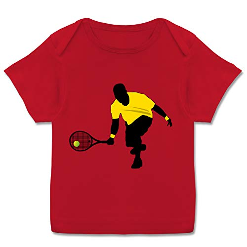 Sport Baby - Tennis Squash Kniend - 68-74 (9 Monate) - Rot - Mann - E110B - Kurzarm Baby-Shirt für Jungen und Mädchen