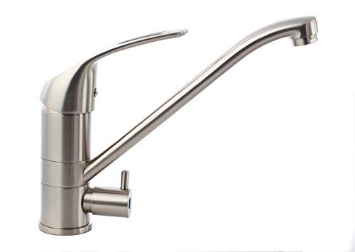 Küche Armatur mit Maschinenanschluss Geräteanschluss Küchenarmatur Einhebelmischer Wasserhahn küche armatur (Langhebel, Nickel-Gebürstet)
