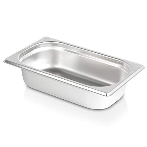 jokobela GN-Behälter 1/4 65 mm aus Premium-Edelstahl (1,7 L Fassungsvermögen) Maße: 265×162×65 mm - Gastronormbehälter ideal für Garen mit Chafing Dish oder Bain Marie (0,6 mm dick)