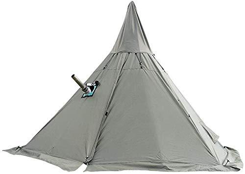 Sport Tent Camping Zelt Wasserdicht Tipi Zelt 4-Jahreszeiten mit Kaminloch und Innenzelt Kaminzelt Pyramiden/Indianerzelt für Outdoor Wanderungen Trekking (Grün, mit halb Gaze-Zelt)