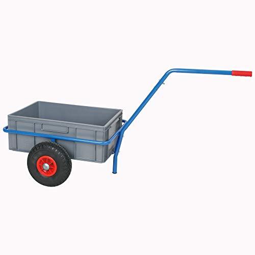 Handwagen mit herausnehmbarem Kunststoffkasten 600 x 400 x 220 mm, pannensichere Reifen,Tragkraft 200 kg