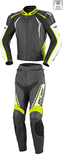 Büse Silverstone Pro 2-Teiler Damen Motorrad Lederkombi Schwarz/Weiß/Gelb 36