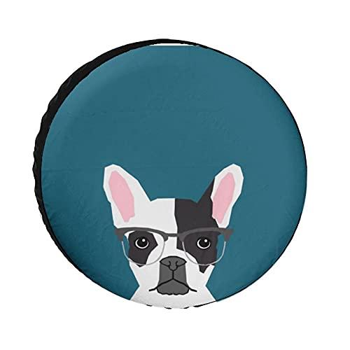 Hipster Frenchie con gafas Bulldog francés Protector de rueda de tela Oxford, fundas universales para ruedas para remolque, RV, SUV, camión, caravana, viaje, remolque, accesorios de 15 pulgadas