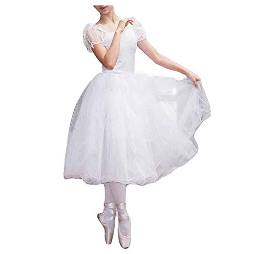 Panda Legends Frauen Hauchhülse Weißes Ballett Langes Kleid Ballett Tutu Blase Rock Fairy Dance Performance Kostüme