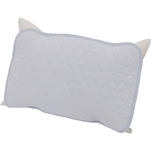 西川産業 枕パッド ブルー 63X43cmのサイズの枕用 接触冷感 触るとひんやり 吸水性に優れる アイスプラス PM79004019B