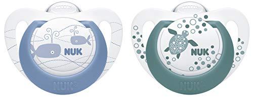 NUK Genius Color Silikon-Schnuller, kiefergerechte Form, 18-36 Monate, 2 Stück, blau & grün