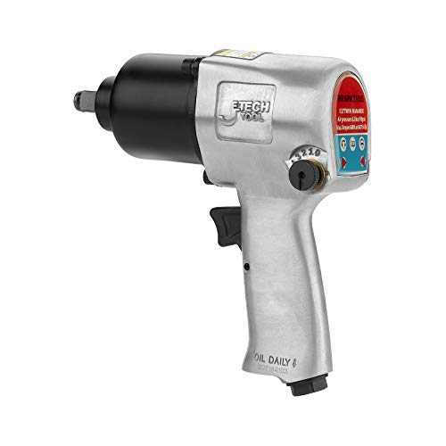 Jetech Heavy Duty Drive Air Impact Wrench, 1/2 Inch Twin Hammer Pneumatic Impact Wrench, 5-Position Speed Control, Convenient Forward and Reverse Switch, Hex Key and Coupler Included