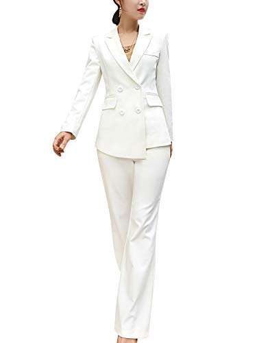SUSIELADY Women's Blazer Suits Two Piece Solid Work Pant Suit for Women Business Office Lady Suits Sets (Bl01-white, l)