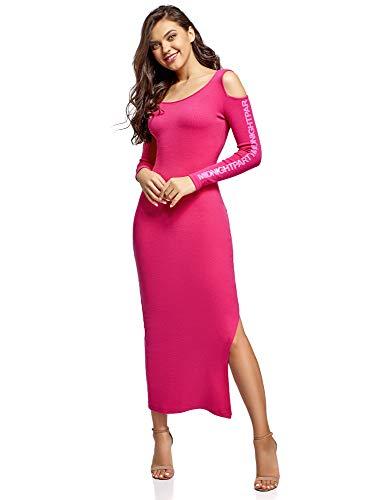 oodji Ultra Mujer Vestido Largo con Hombros al Descubierto, Rosa, ES 42 / L