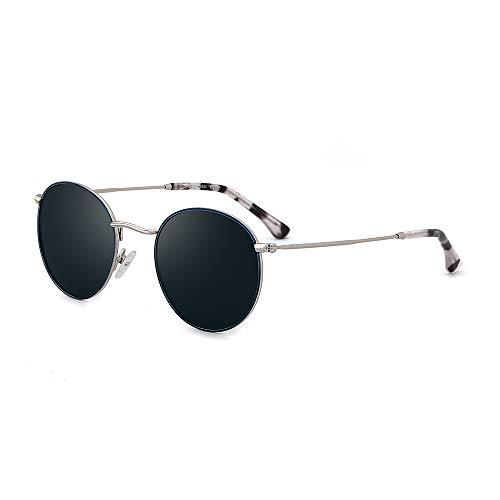 OQ CLUB Gafas de sol polarizadas para mujer pequeños marcos redondos de metal retro