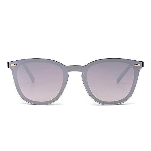 JIM HALO Randlos Sonnenbrille Ein Stück Spiegel Reflektierend Brille für Damen Herren(Glänzend Schwarz/Spiegel Silber)