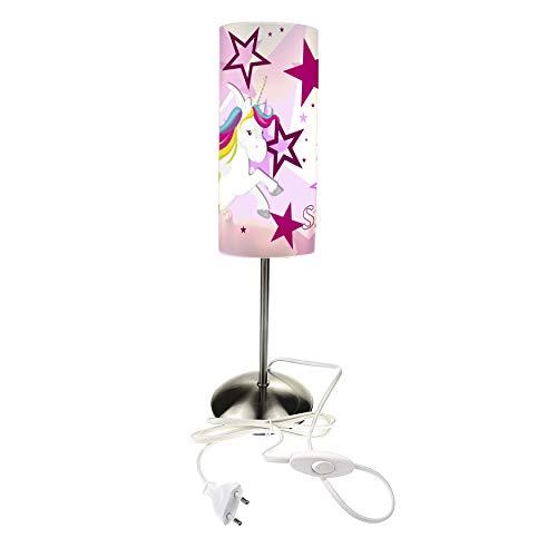 CreaDesign TI-1129-02 Einhorn Sterne rosa Nachttischlampe Kinderzimmer mit Namen, Kinder Tischlampe/Schlummerlicht mit Schalter für Steckdose, E14, 38 cm hoch
