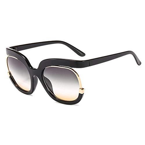 Gafas De Sol Hombre Mujeres Ciclismo Gafas De Sol Redondas De Moda para Mujer, Gafas con Lente Degradada Vintage, Gafas De Sol para Hombre, Gafas De Sol-Black_Green_Yellow