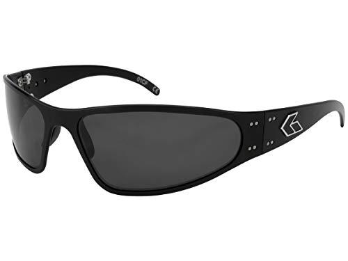 Gatorz Wraptor Gafas de Sol, Marco de Aluminio Metal, Estilo Militar táctica, Lente polarizada Ahumado Negro Un tamaño