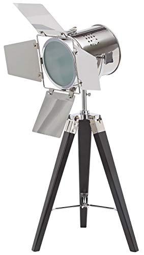 BRUBAKER Stehleuchte Industrial Design Tripod Lampe - 65 cm Höhe - Stativbeine aus Holz Schwarz - Scheinwerfer Chrom
