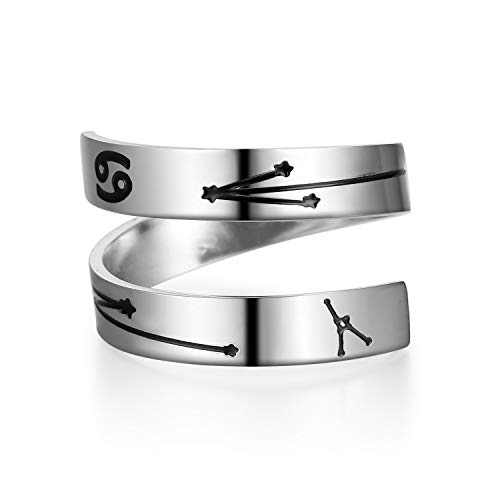 YOYO&YOKI Silver Zodiac Ring Stainless Steel Engraving Size Adjustable Constellation Birthday Ring Gift for Women Teens Girls (Cancer)