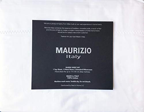 Maurizio Italy 4pc Sheet Set Solid White with an Embroidered Wide Lattice Ladder Stitch Style Line Along Hem 100% Cotton Luxury (Queen)
