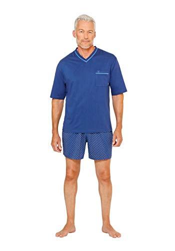 hajo Herren Schlafanzug kurz - Shorty-Pyjama V-Ausschnitt, Premium Cotton, Ozean S (Small)