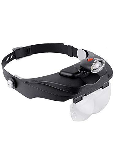ZDFFDJ leeselup hoofdband vergrootglas dubbele ogen lantaarn sieraden horloge-reparatie electronic circuit horloge-zilver dollar loep LED-licht, 8 verwisselbare lens 1,2 x 1,8 x 2,5 x 3,5 x op display kaart