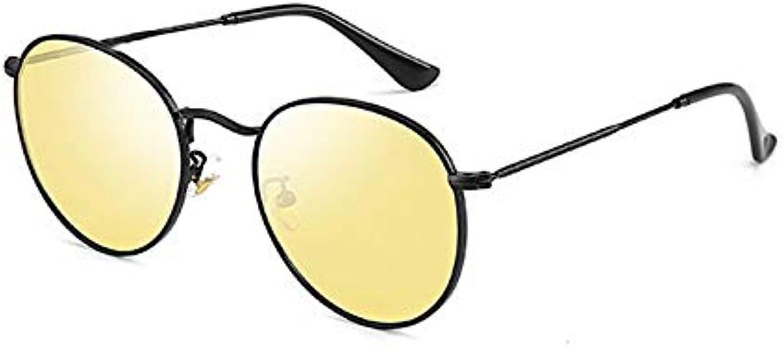 Alvndarling Retro Sunglasses Sunglasses Men's and Women's Round Frame Lens TAC Enhanced Polarizer
