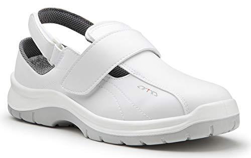 Artra–Aria de (604–1010–0) Zuecos blancas, con cierre de velcro, guantes de trabajo zapatos de seguridad para gastronomía, alimentos de cocina de mis de arbeitsschuhe de de, color Blanco, talla 46 EU