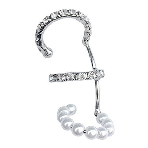 WEFH Clip de Oreja de Perlas Vintage de Tres Capas, joyería Elegante de Moda sin Piercings, Oro