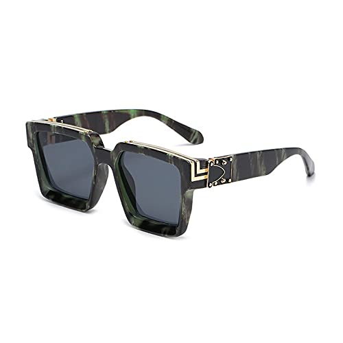 Huguo Retro Square Gafas de Sol Mujeres Diseñador de Marca Estilos de Verano Colores de Caramelo Moda Espejo de Plata Sombras Hombres UV400 BlackGreenGrey