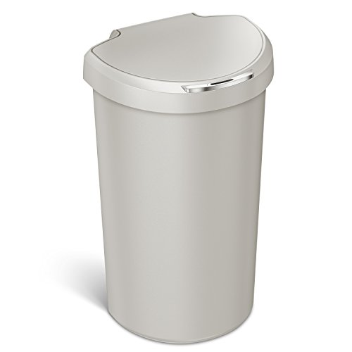 simplehuman 40L Semi-Round Sensor Can, Touchless Trash Can, Stone Plastic, 40 L / 10.5 Gal
