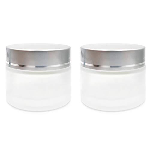 SIYI-XIU 2 PCS Frasco De Crema Facial De Vidrio Esmerilado Tarros De Crema Recipientes VacíOs para CosméTicos Vidrio Esmerilado Tarro con Tapa 50ml