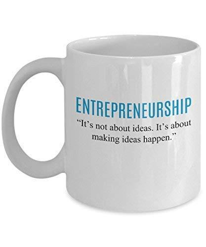 El espíritu empresarial no se trata de ideas, sino de hacer que sucedan Taza de café divertida Tazas de café Emprendedores entusiastas de la novedad Estafadores construyen una nueva empresa Lanzamient