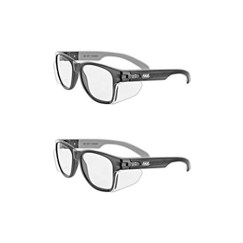 MAGID Y50BKAFC Iconic Y50 Design Series Safety Glasses with Side Shields | ANSI Z87+ Performance, Scratch & Fog Resistant, Comfortable & Stylish, Cloth Case Included, Clear Lens (1 Pair)
