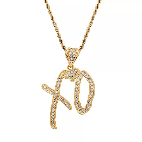 YQMJLF Collar Moda Accesorios Collares Mujer Nuevo Collar Hip Hop con gráficos tridimensionales Colgante con Letras circonio con Collar Cadena Larga Acero Inoxidable Mujeres y Hombres joyería