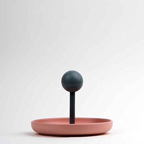 Centre de table à fruits vide-poches en céramique mate rose hêtre fait à la main